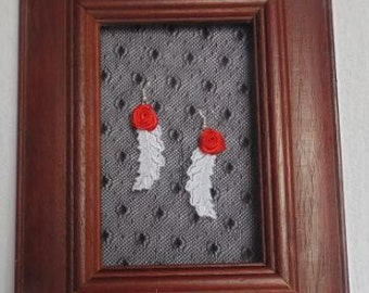 Rose & Feather Lace Earrings
