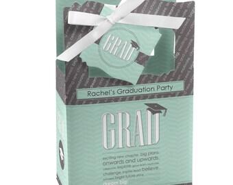 Graduation Favor Boxes - Personalized Graduation Party Supplies - Graduation Treat Boxes - Set of 12 Con-GRAD-ulations - Mint Favor Boxes
