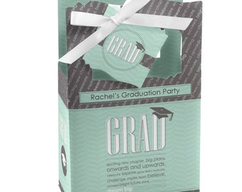 12 Con-GRAD-ulations - Mint - Graduation Favor Boxes - Graduation Party Supplies