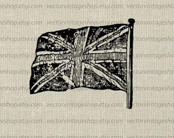 British Jack Flag Vector Clipart Commercial Use Instant Digital Download, Antique Union Jack, Printable Victorian Illustration WEB1711AM