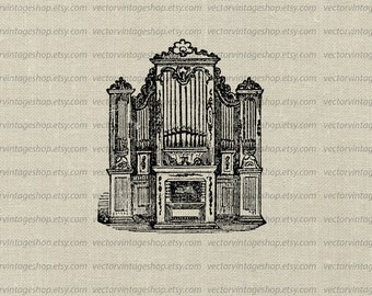 Church Organ Vector Clipart Graphic instant Download, Pipe Organ Antique Musical Instrument Clip Art, Printable Old Illustration WEB1727AZ