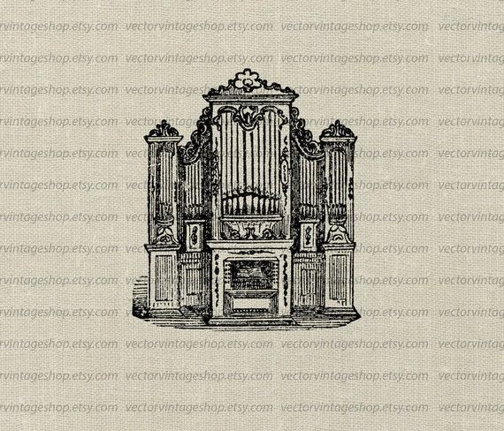 Church Organ Vector Clipart Graphic instant Download Pipe