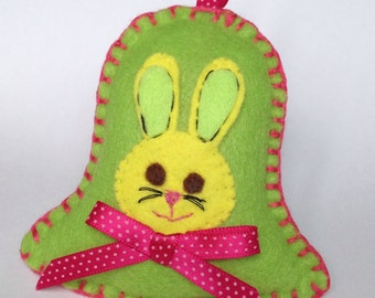 Felt Easter bell with embroidered bunny