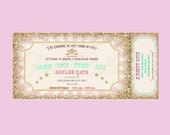 Carousel carnival ticket style Invitation. Mint, green, pink, gold, bunting.  Printable, DIY. Birthday, bridal shower, baby shower.