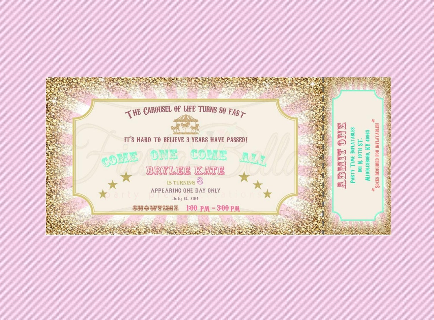 Carousel birthday ticket style Invitation Mint green pink