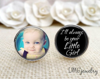 Father of the Bride Custom Photo Cufflinks, Father of the Bride Cufflinks, Custom Wedding Cufflinks,I'll Always be Your Little Girl