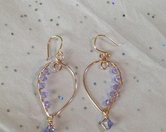 Wire Wrapped Earrings ~ Rose Gold Provence Lavender Swarovski Earrings ~ Purple Swarovski Crystal Earrings ~ Rose Gold Purple Earrings
