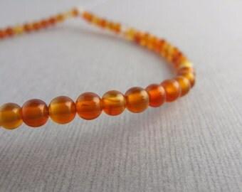 Carnelian Gemstone Smooth Round Beads - Destash - B-02YA-45-D