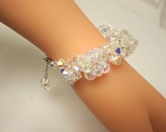 Swarovski Crystal AB Bracelet,7/12 inches, silver plated clasp