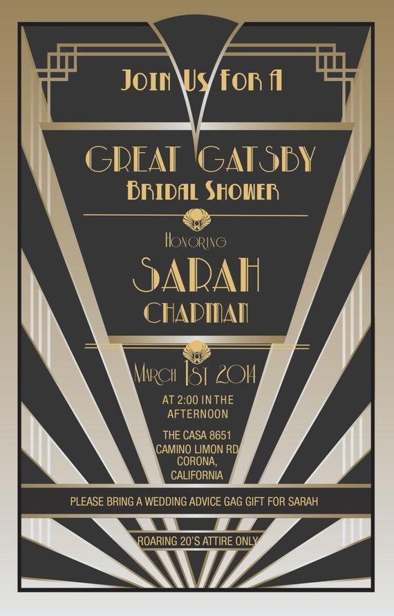 Items similar to Great Gatsby Invitations   Gatsby Style ...