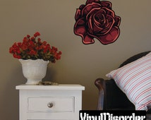 Rose Wall Decal - Wall Fabric - Vinyl Decal - Removable and Reusable - RoseUScolor002ET