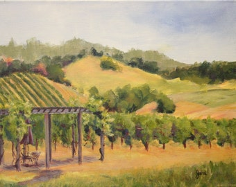 Original acrylic landscape painting, Shady Spot in the Vineyard