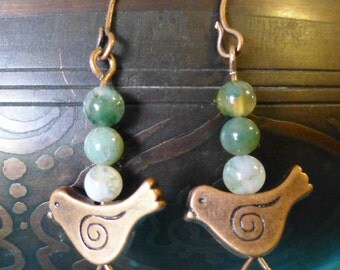 THE BIRDS SING-- Bronze Songbird and Jasper Earrings!