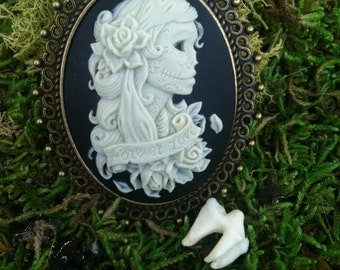 Forever Love Vintage Style Gypsy Sugar Skull Cameo- For Those of Us Who Love Beyond the Flesh