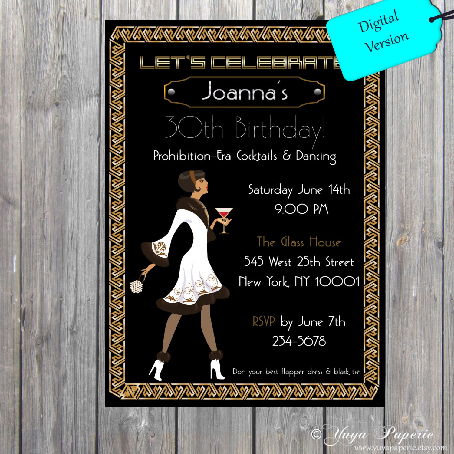 1920s Great Gatsby Birthday Invitation 21st Birthday