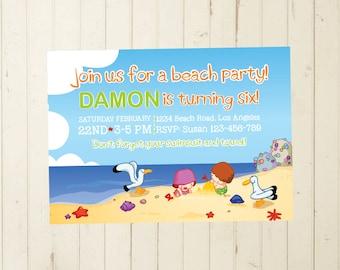 beach birthday invite, boy party, beach birthday, baby boy birthday, 2nd birthday boy, 3rd birthday boy, 4th birthday boy, 2nd birthday girl