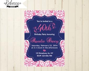 navy and pink invite damask invitation navy and pink invite women 21 birthday 30 birthday 40 birthday 50 birthday 60 birthday invite