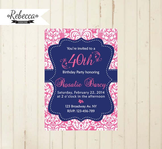 Navy and pink invite damask invitation navy and pink invite women 21 il570xn filmwisefo