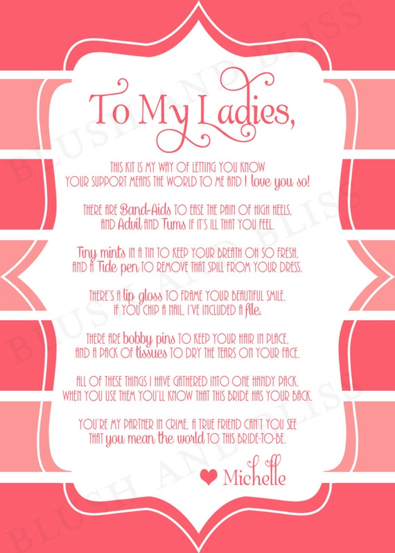 Survival Kit Poem Card
