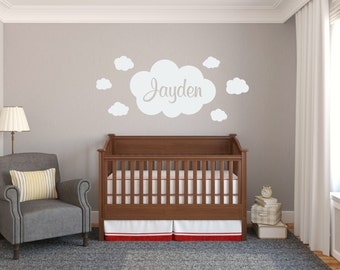Nursery Wall Decal Clouds Wall Decal Clouds Vinyl Decal Girl Nursery Decal Boy Nursery Decal Nursery Wall Decor Cloud Name Decal
