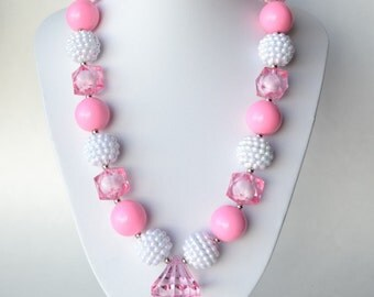 Pink & White CHUNKY necklace with acrylic beads, tiger tail stringing, and metal toggle clasp
