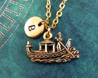 Gondola Necklace, Gold Gondola Charm, Hand Stamped Necklace, Engraved Necklace, Initial Necklace, Gondolier Keychain Venice Necklace