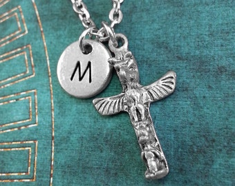 Personalized Indian Totem Necklace, Totem Pendant, Custom Necklace, Spirit Totem Necklace, Monogram Necklace, Native American Charm Necklace