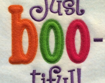 Just Boo-tiful! Halloween Shirt for Girls Machine Embroidered Appliqued