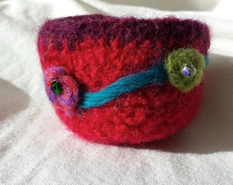 Red Felted Folk Art Bowl
