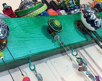 Made to order -recycled jewelry storage organizer /Necklace wall hanger /reclaimed wood decor jewelry display wall hanger 5 knobs 4 hooks