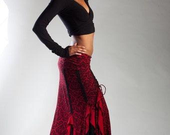 Red/Black Victorian Flamenco Skirt for Dancers, Festivalwear, Tribal Bellydance, Burning Man, Steampunk Festivals
