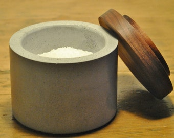 Concrete Salt Cellar / Salt Box / Salt Pinch Bowl / Salt Pig / Sugar Bowl with Black Walnut Lid / Chef Gift / Kitchen Gifts