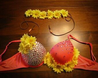 Hot Pink Crazy Daisy Rave Bra w/ Matching Flower Headband