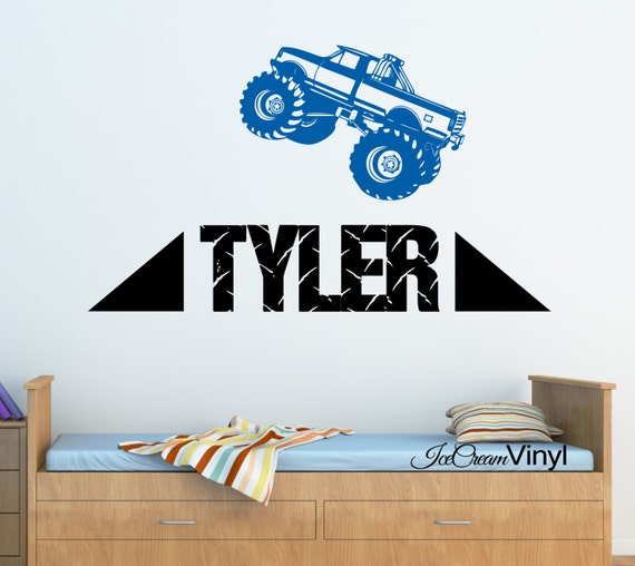 Name Decal Truck Wall Decal Monster Truck with Name Wall Decal for Boys Nursery Room for Girls Room Playroom Vinyl Decor