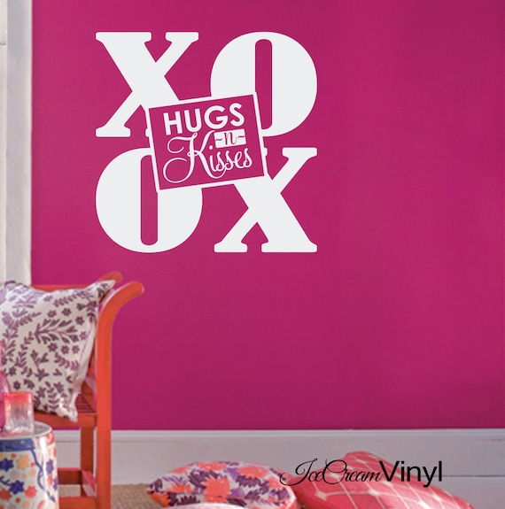 Hugs N Kisses XO Wall Decal for Girl Playroom Nursery Teen Bedroom Childrens Decor