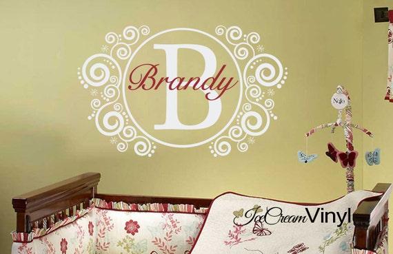 Personalized Name Monogram Nursery Playroom Wall Decal Elegant Children Vinyl Decor