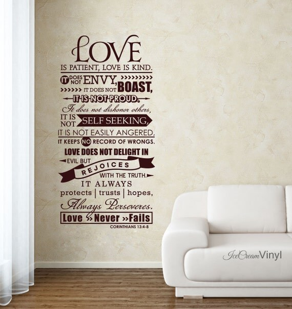 Lettrage de vinyle corinthiens 13 christian wall decal amour - Decoration ecriture murale ...
