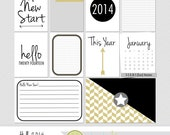 New Year 2014 Digital Scrapbooking Journaling Cards Project Life Eve INSTANT DOWNLOAD +PDF