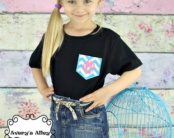 Black shirt with Turquoise Blue Chevron Pocket T-shirt with Hot Pink Initials for Youth Girls and Adult Women