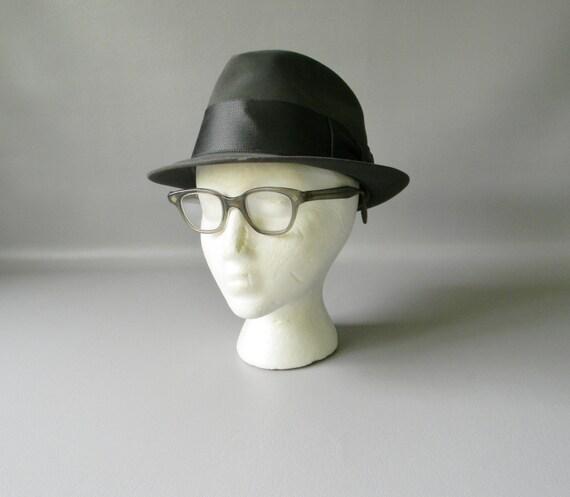 8675b2e4c43018 ... Vintage Resistol Black Hat: Vintage 1950's Resistol Charcoal Grey Beaver  Felt Fedora