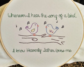 8x10 hand embroidery pattern Whenever I Hear The Song Of A Bird