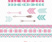 Arrows Clip Art, Tribal Clip Art, Tribal Pattern, Aztec Clip Art, Tribal Elements, Clip Art for Scrapbooking, Cards, Instant Download