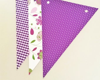 6 DIY paper flags party supplies,Purple paper flags,Purple paper bunting birthday nursery home decor flags,Purple wedding paper flag garland