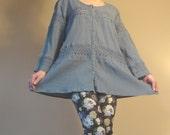 Vintage 70s Blue cotton  Peasant hippie boho blouse top