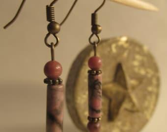 Earrings Rhodonite