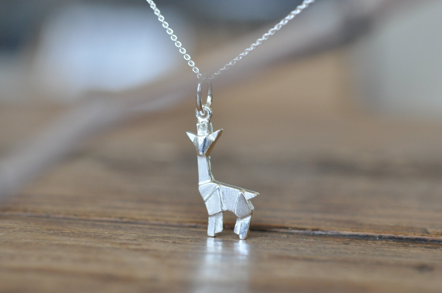 Sterling Silver Origami Giraffe Necklace Gold by JamberJewels - photo#9