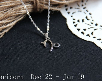 Capricorn Constellation Necklace. Capricorn Zodiac Necklace. January Birthday. Zodiac Cameo Necklace. January Zodiac Necklace.