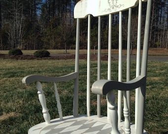 SOLD Reclaimed Hand-Painted Rocking Chair
