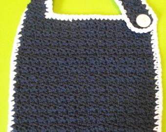 Crocheted Dark Blue Bib with White Border
