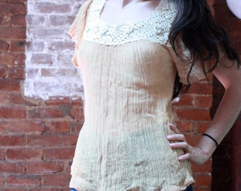 Crochet Sheer Buttercup Top ~ Small